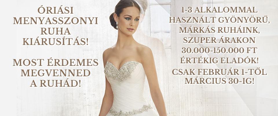 Óriási menyasszonyi ruha kiárusítás!